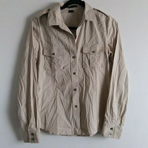 Theory Blouse Shirt Button Pockets size M Beige